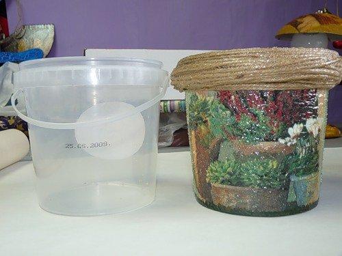 декупаж пластиковых банок для сыпучих продуктов