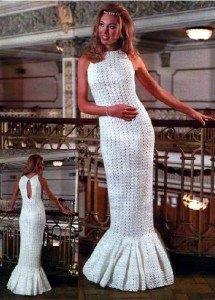 Белое свадебное платье крючком
