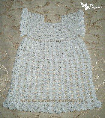 Белое платье крючком для