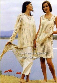 Белое летнее платье крючком для начинающих