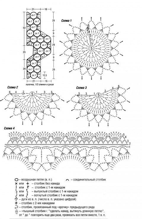 Крючком свяжите 42 мотива по схеме 1, 6 мотивов по схеме 2 и 4 мотива по схеме 3. Соедините их между собой согласно