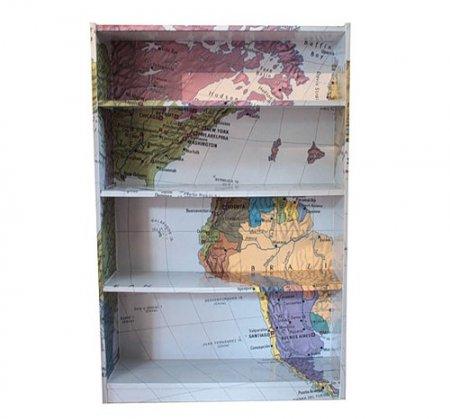Декупаж шкафа картой мира