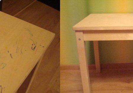Декупаж простого деревянного детского столика