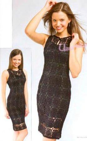 Чёрное вечернее платье ручной работы