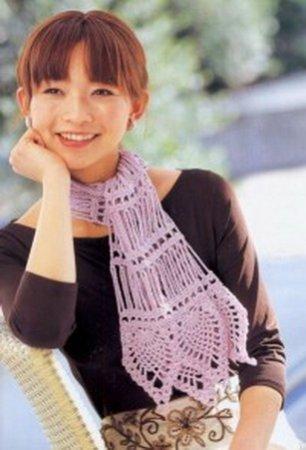 Сиреневый ажурный шарфик