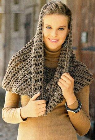 Стильный шарф труба крючком