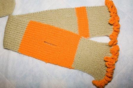 Детский шарф (бежевый с оранжевым)