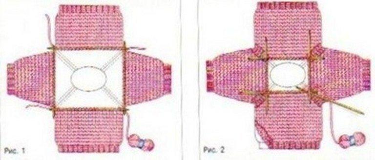 Реглан спицами снизу схема