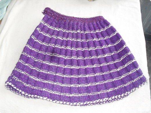 Вязание спицами юбки в складку для девочки