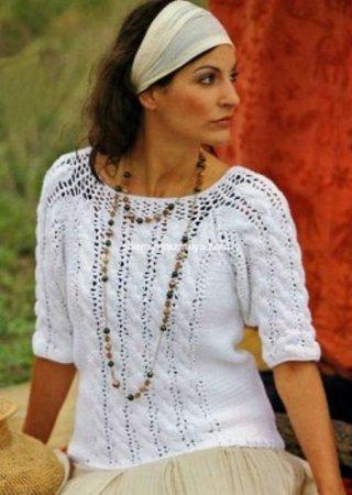 Белый ажурный женский пуловер