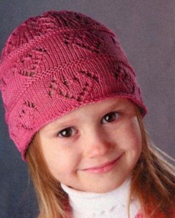 Розовая шапочка спицами для девочки 6-7-8 лет