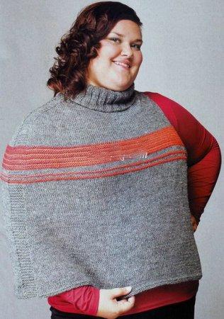Пончо вязаное спицами для полных женщин.