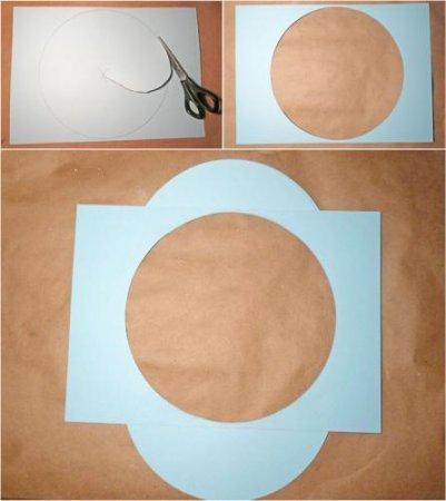 Вырезаем круг равный диаметром внутреннему кругу часов