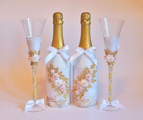 Декупаж бутылок на свадьбу