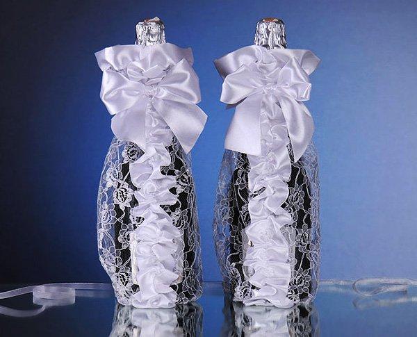 украшение свадебной бутылки своими руками фото