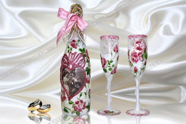 Декупаж бутылок свадебных своими руками