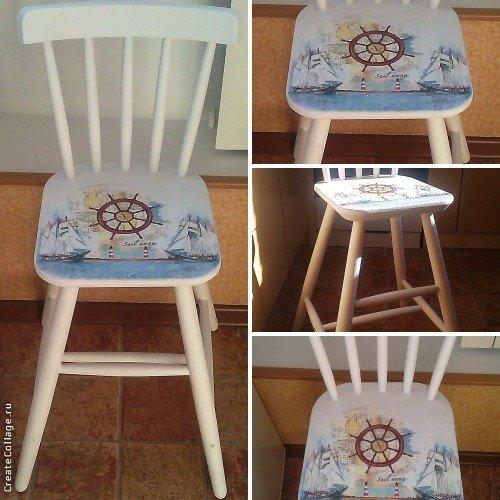 Техника декупаж стульев своими руками 62