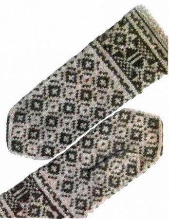Черно-белые рукавицы спицами