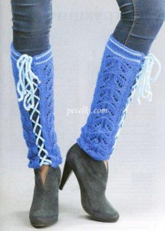 Синие ажурные гетры со шнуровкой