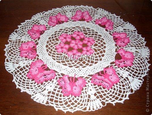 салфетки крючком с цветами и бабочками схемы