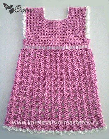 Зимние платье для девочки крючком