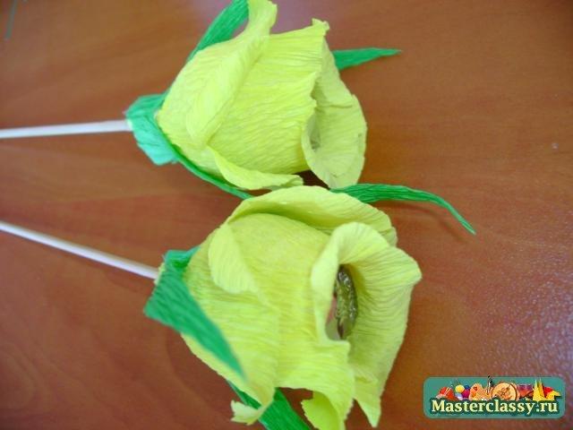 Цветы из конфет мастер класс с пошаговым