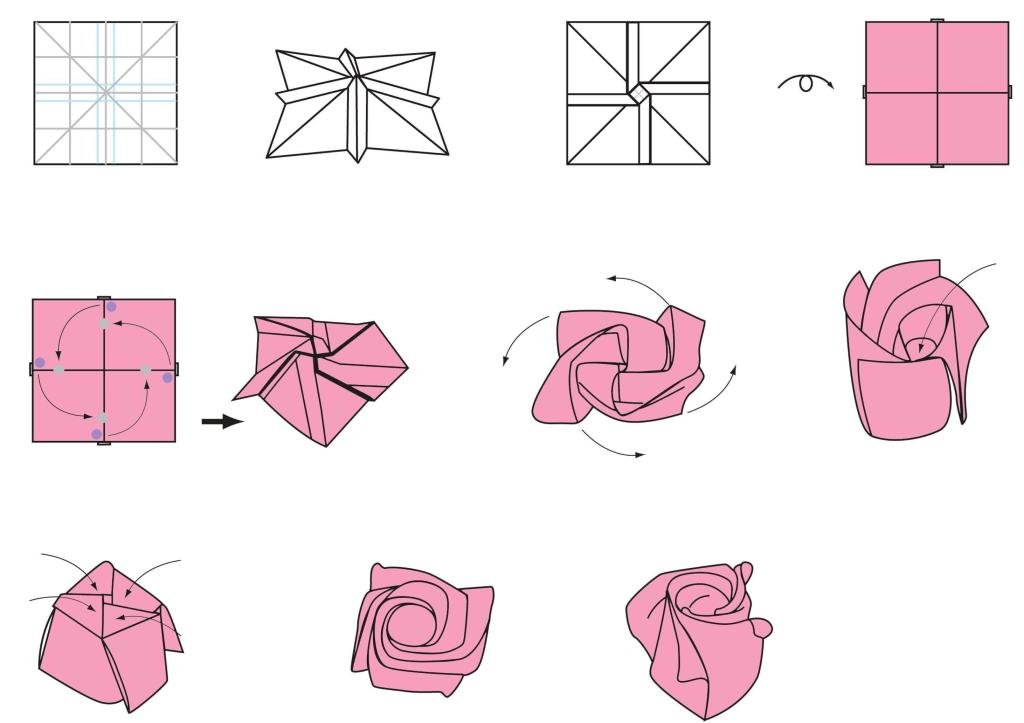 Розы из простой бумаги