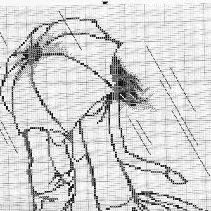 Монохромная вышивка крестом схемы мужчина