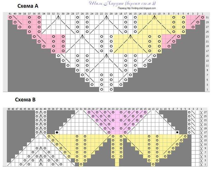 Схема и фото шали харуни