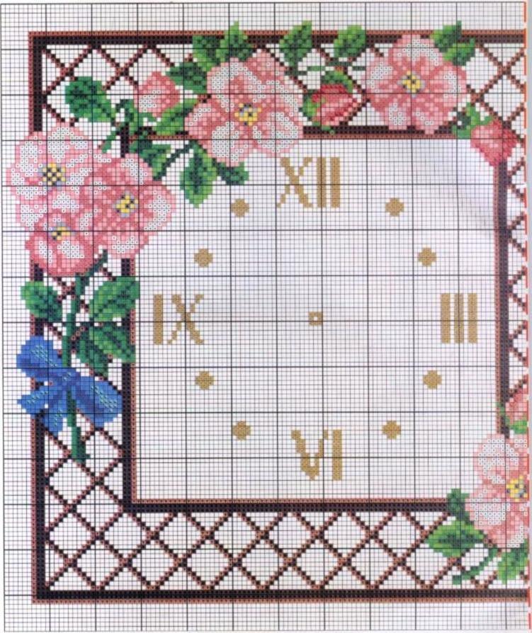 Вышивка крестом циферблат часы