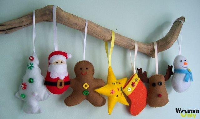 Новогодние игрушки из фетра: выкройки с фото и видео инструкциями пошагово