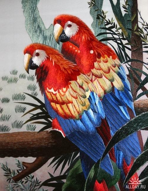 Рисунки животных для вышивки гладью