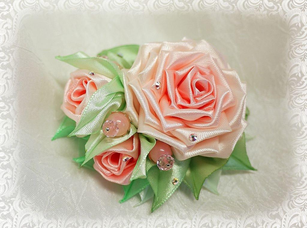 Розы канзаши из лент своими руками пошаговое фото