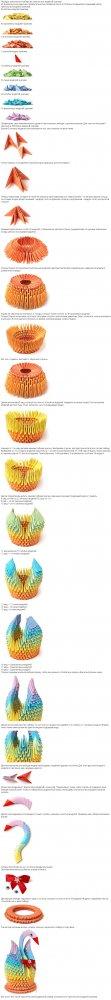 Лебедь оригами из бумаги: пошаговая сборка простого лебедя из модулей