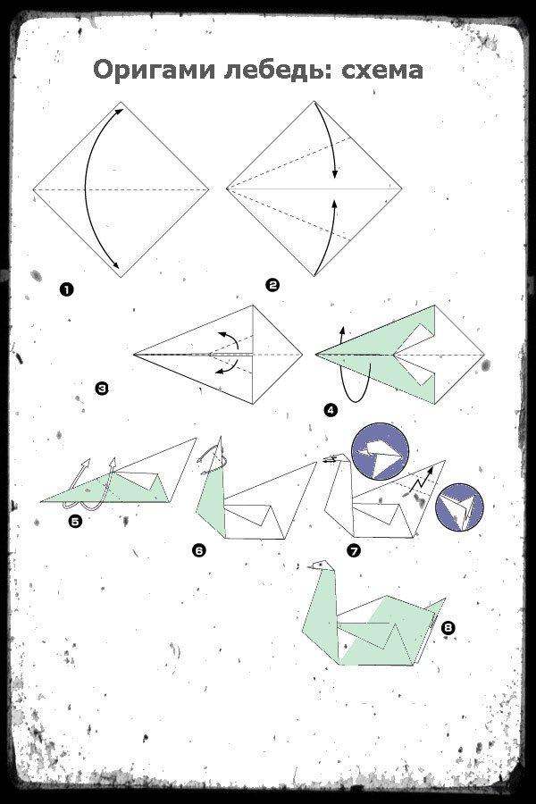 Оригами лебедь из бумаги своими руками пошаговый