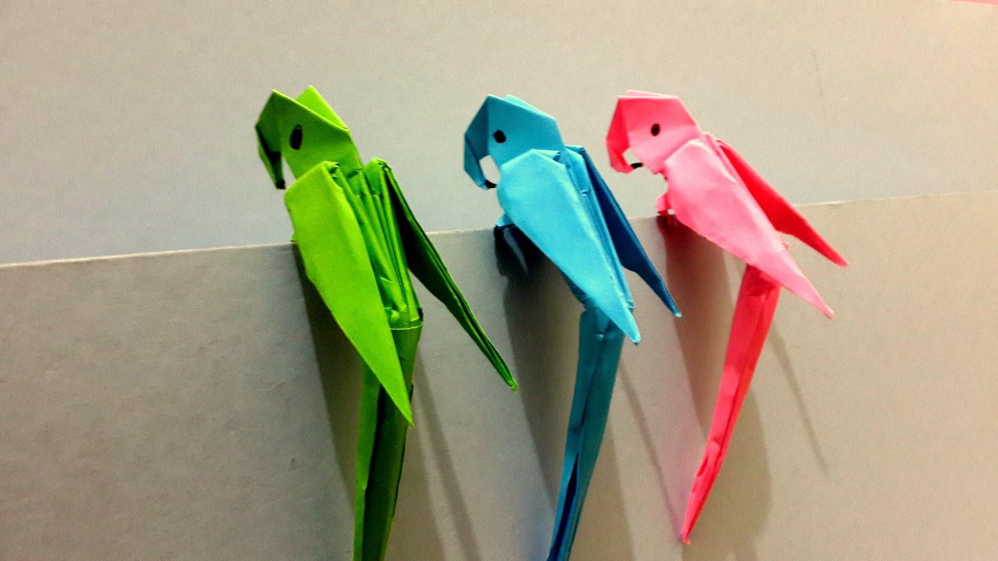 Попугай оригами схема