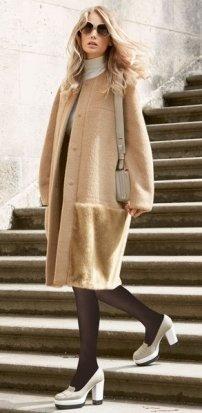 Выкройка пальто с цельнокроеным рукавом: журнал Бурда