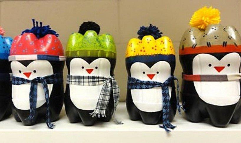 Как сделать пингвин из пластиковых бутылок своими руками
