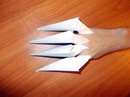 Как сделать когти из бумаги на руки