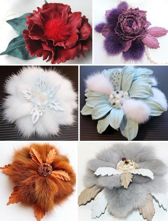 Как сделать цветы из меха фото 310