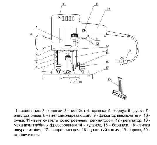 Схема фрезер фиолент мф2-620э