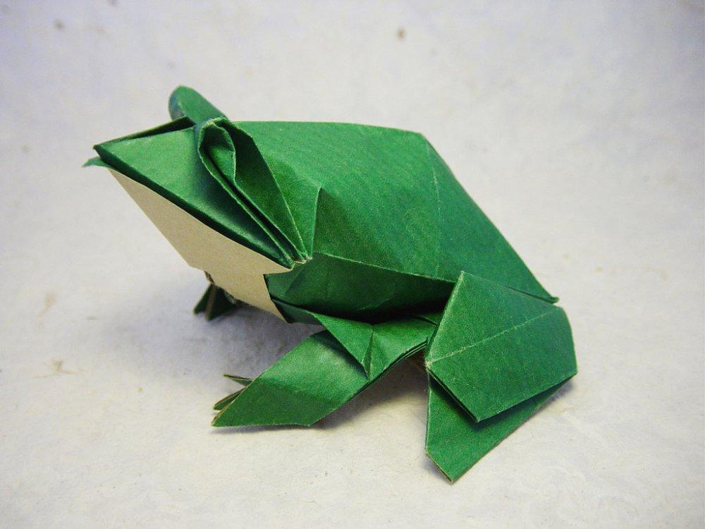Как сделать лягушку из бумаги схема