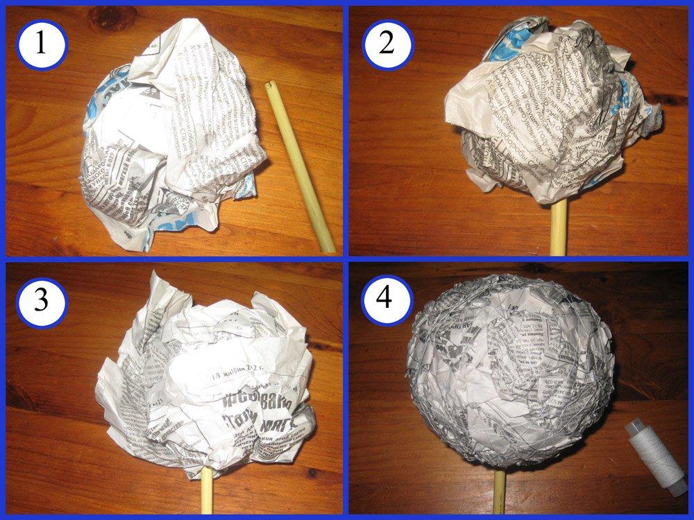 Как сделать шар для топиария своими руками из газеты 177