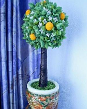 Мастер класс по топиарию из органзы: свадебный топиарий с фруктами своими руками