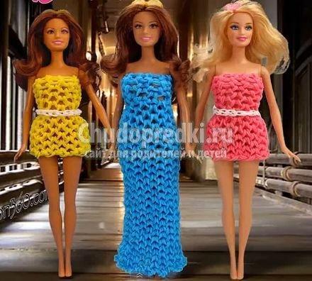 Плетение платьев из резинок на станке