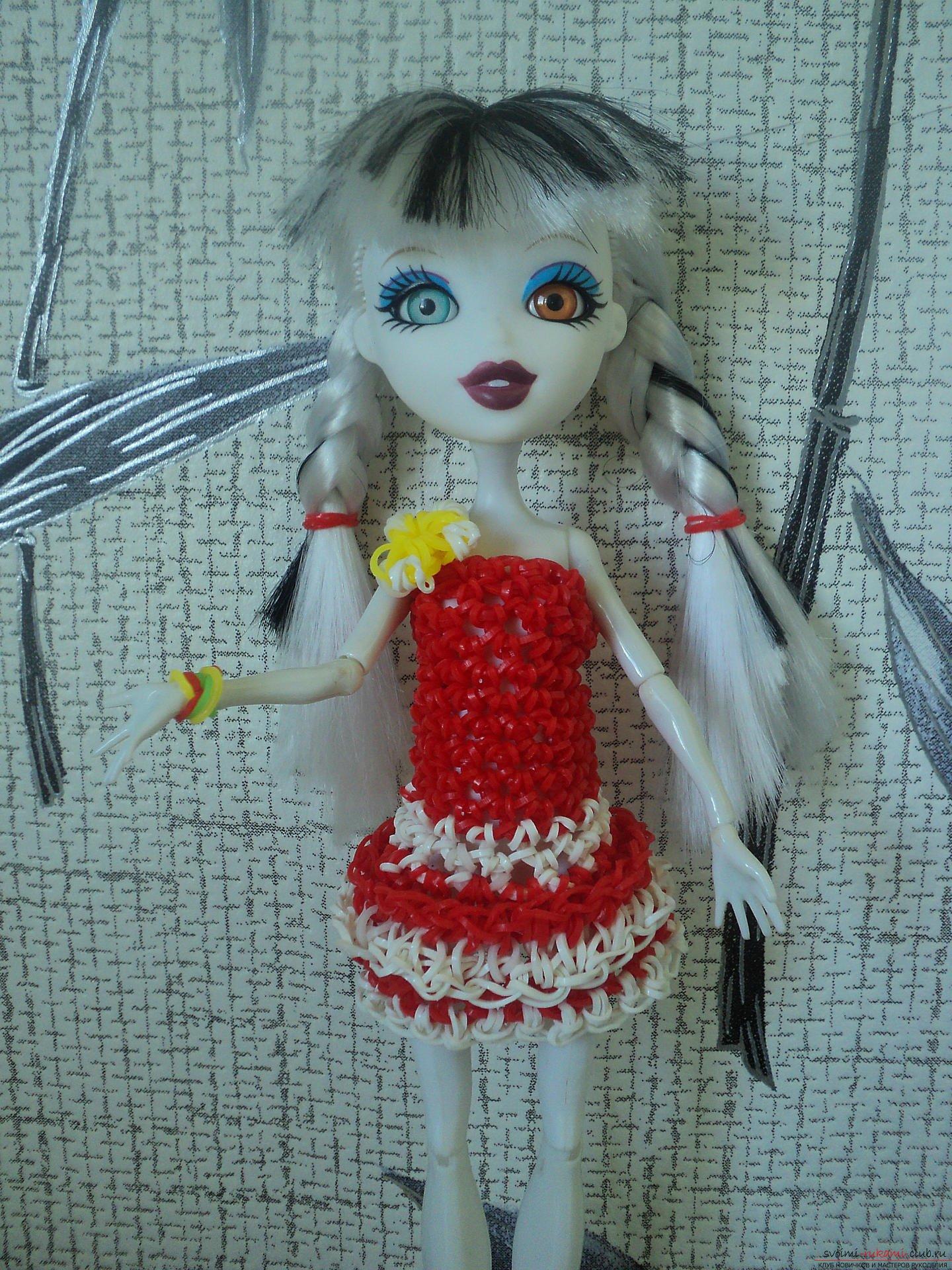 Платье из резиночек для барби