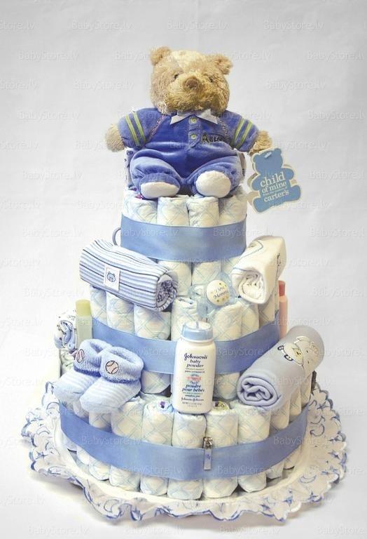 Одноярусный торт из памперсов своими руками пошагово фото для девочек
