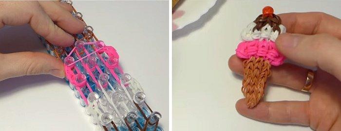 Как сплести из резинок мороженое: плетем фигурку на вилке и на крючке