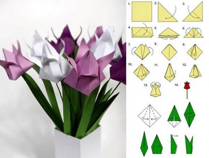 Оригами без клея цветок