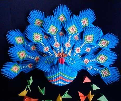 Модульное оригами: павлин со схемами сборки и мастер класс с видео-подборкой
